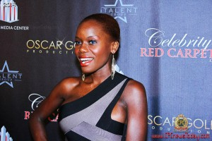 Miss Santa Barbara Maria Matovu at Golden Globes Red Carpet Event.