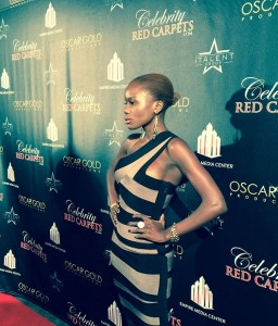 Miss Santa Barbara Maria Matovu. At Golden Globes Red Carpet Event.