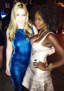 Miss Santa Barbara with Miss long Beach at the Grammy's Party. Lexington Hollywood California